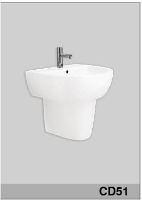 Chậu rửa mặt treo tường + chân lửng Viglacera VI51