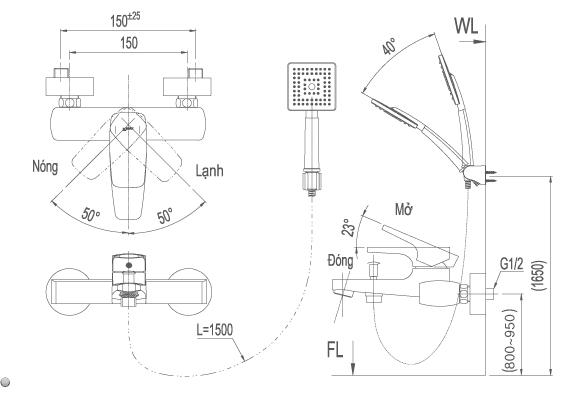 bản vẽ vòi chậu và sen tắm inax BFV-5003S-5Cbản vẽ vòi chậu và sen tắm inax BFV-5003S-5C